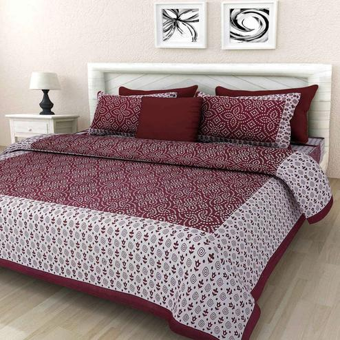 Glowing Maroon Colored Printed Cotton Double Bedsheet with 2 Pillow Cover