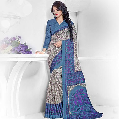 Off White - Blue Traditional Print Work Saree
