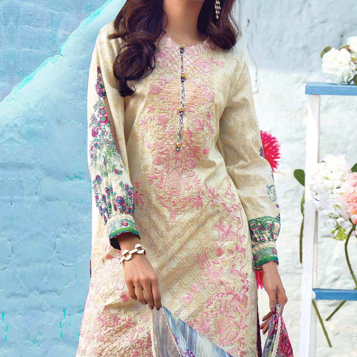 Yellow Print & Embrodiered Work Cotton Suit