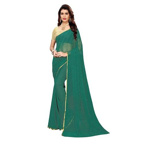 Ethnic Green Colored Casual Wear Woven Border Chiffon Saree