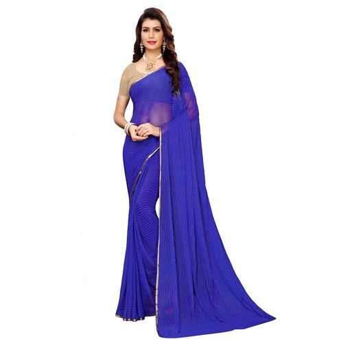 Dazzling Blue Colored Casual Wear Woven Border Chiffon Saree