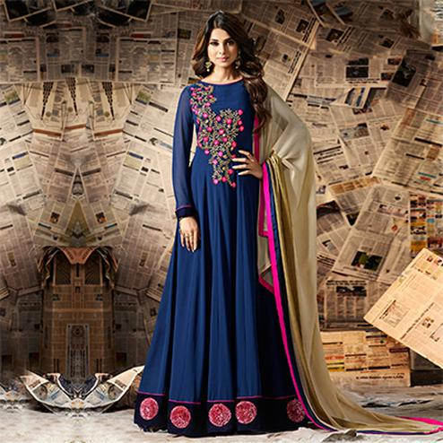 Navy Blue Embroidered Work Georgette Anarkali Suit