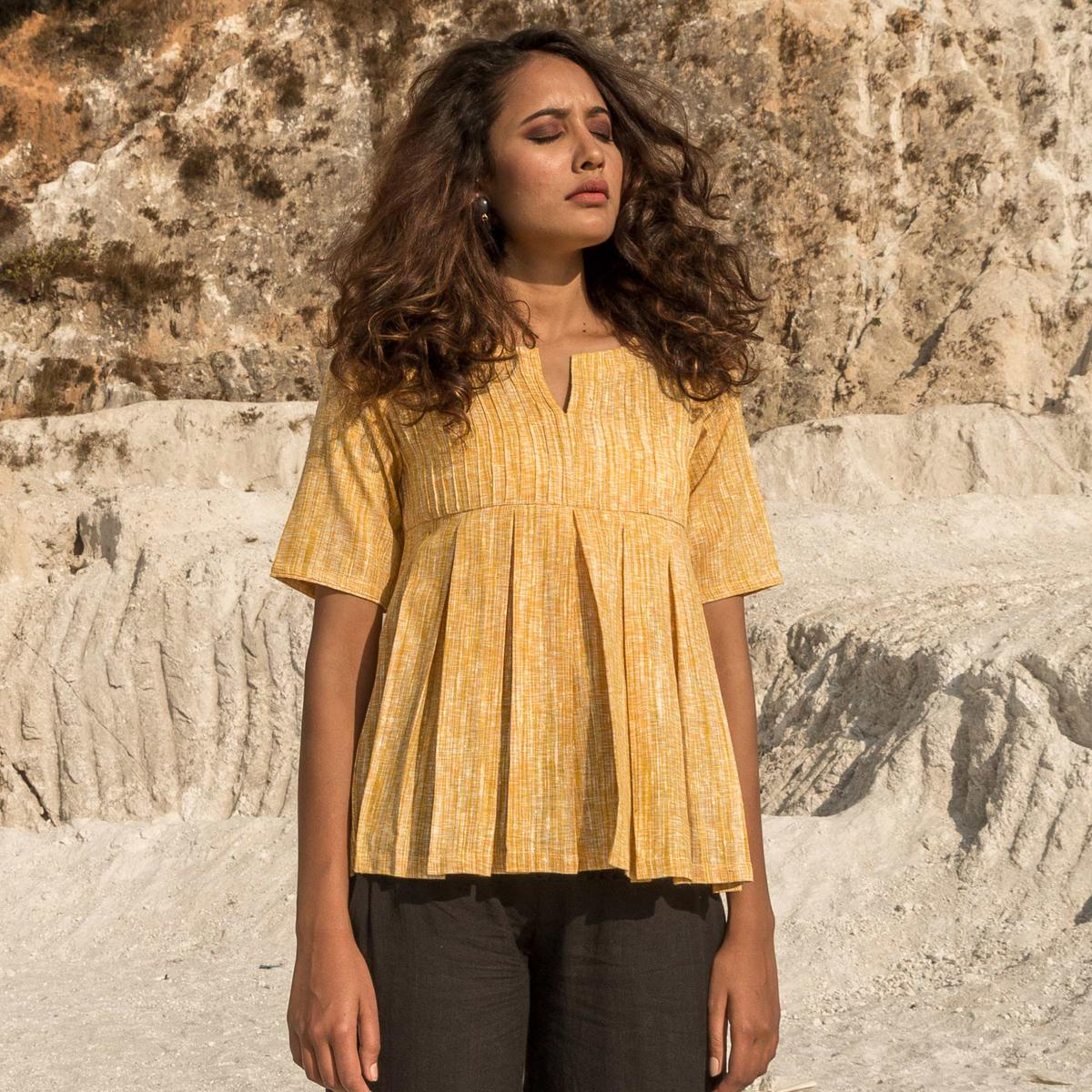 Demanding Yellow Colored Casual Wear Broken Checks With Pintucks &  Box Pleated Hand Woven Cotton Top