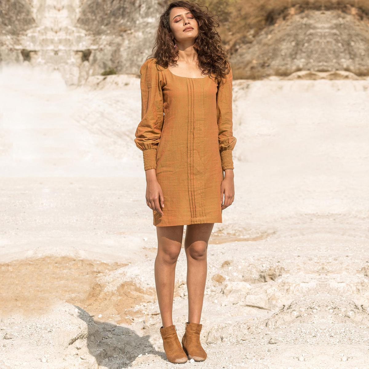 Flattering Rust Orange Colored Casual Wear Low Neckline Front Pleated Hand Woven Cotton Boxy Tunic