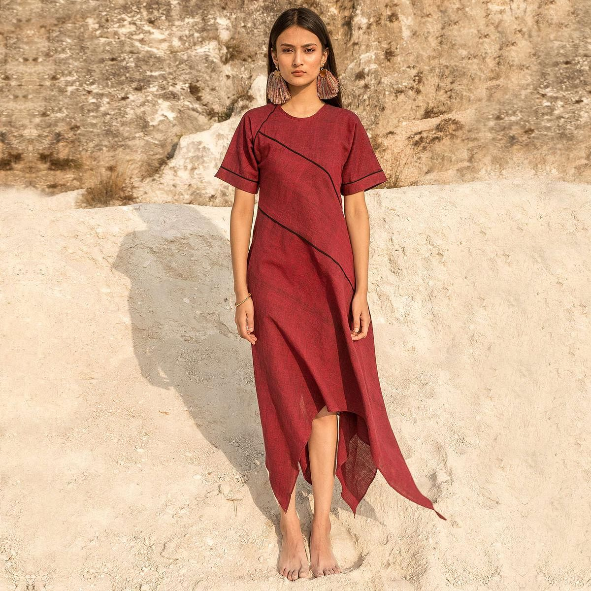 Excellent Maroon Colored Casual Wear Piping Cut & Sew Hand Woven Cotton Handkerchief Tunic