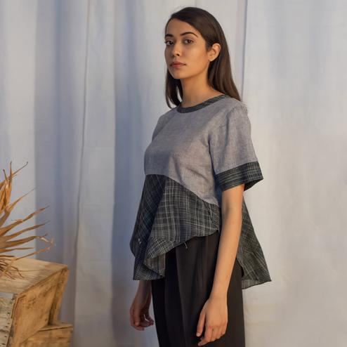 Glorious Charcoal Grey Colored Casual Wear Cotton Blouse Top