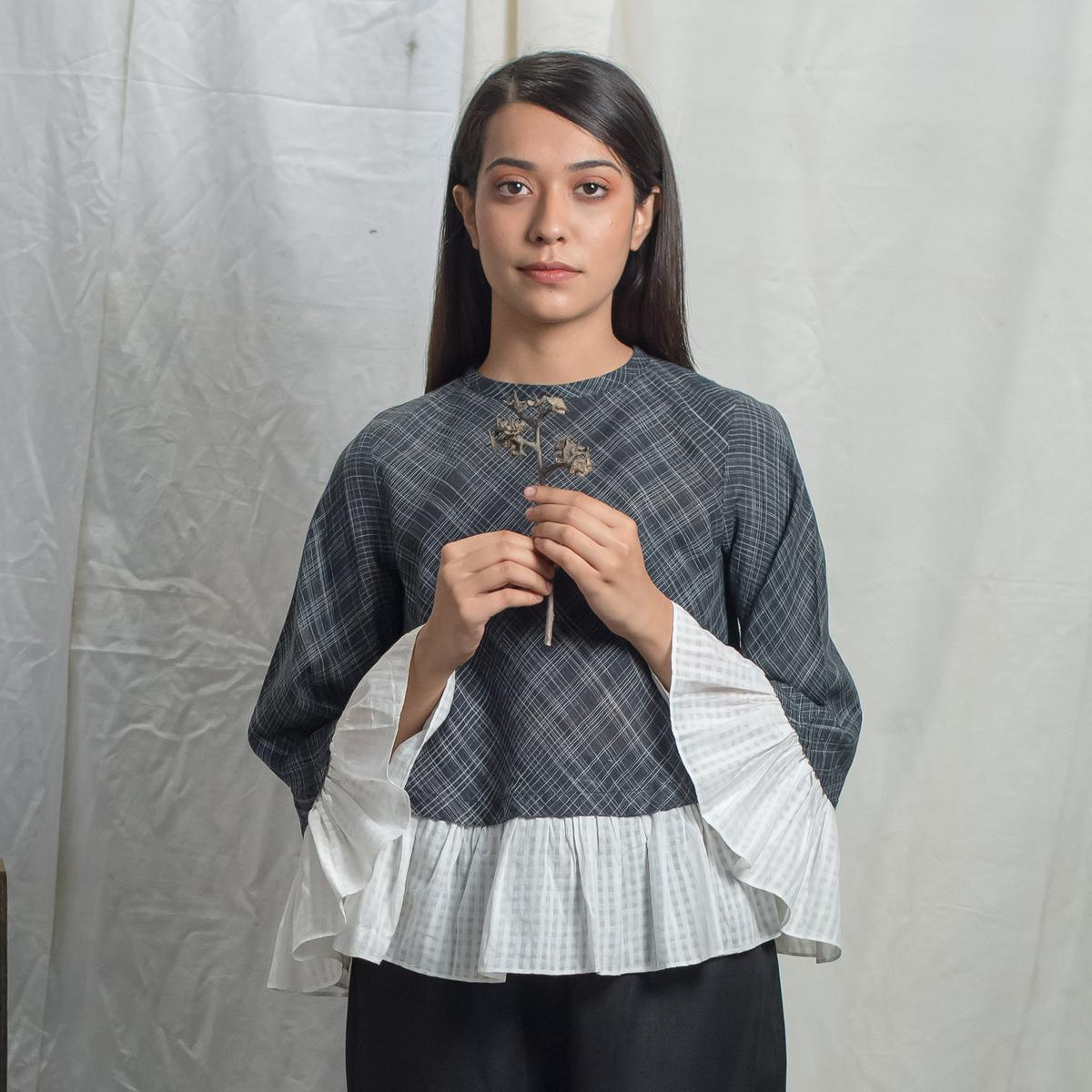 Attractive Charcoal White Colored Casual Wear Cotton Blouse Top