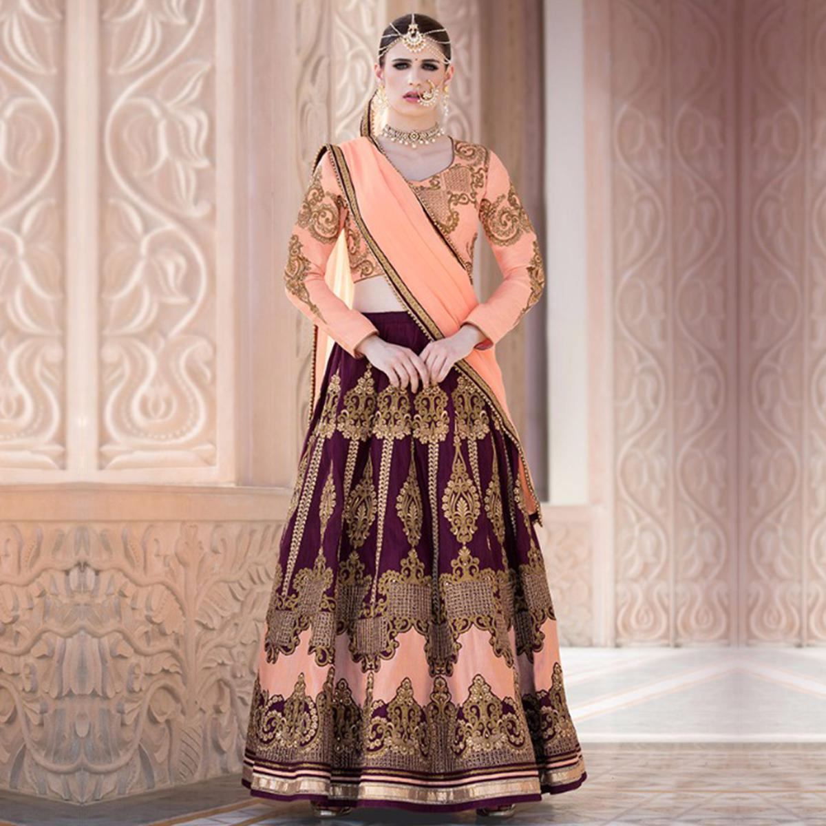 Purple - Peach Heavy Embroidered Work Lehenga Choli