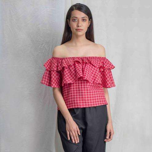 Imposing Red Colored Casual Wear Check Cotton Off Shoulder Top