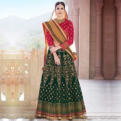 Green - Pink Traditional Lehenga Choli