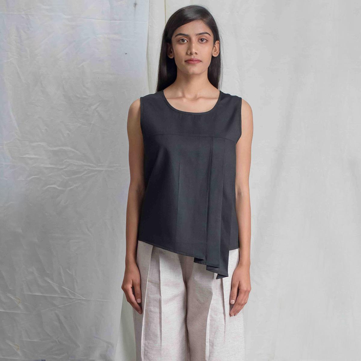 Ethnic Black Colored Casual Wear Cotton Assymetrical Top