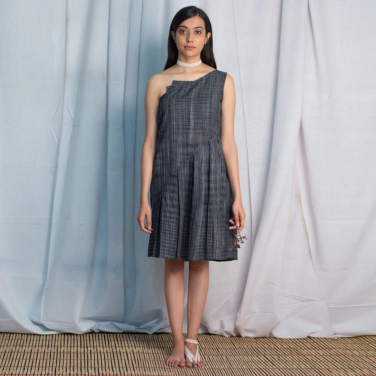 Elegant Black Colored Casual Wear checked One Shoulder Cotton Tunic