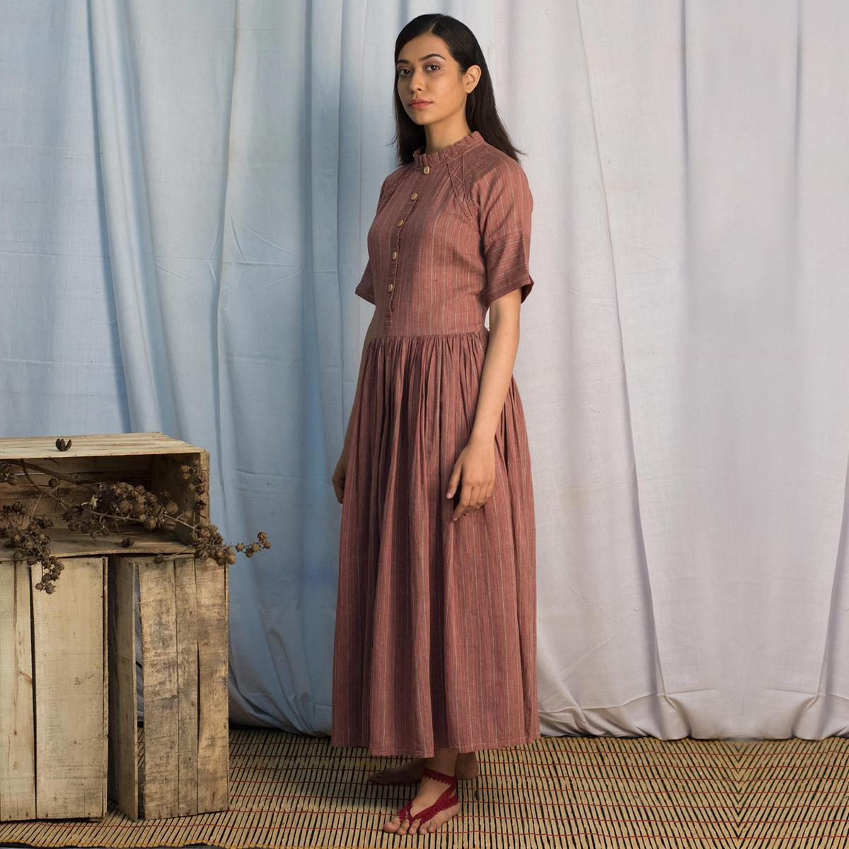 Magnetic Brown Colored Casual Wear Cotton Smock Long Dress