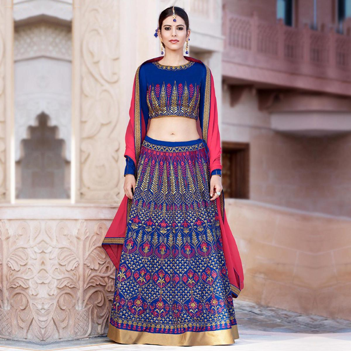 Royal Blue Banglori Silk Lehenga Choli