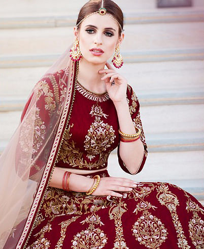 Maroon Heavy Embroidered Work Lehenga Choli