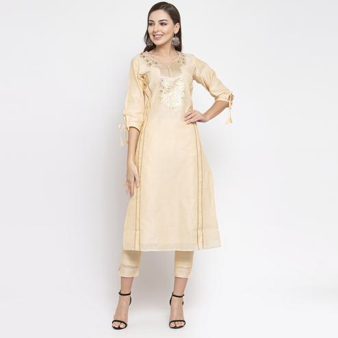 Intricate Cream Colored Party Wear Embroidered Calf Length Straight Cotton-Chanderi Silk Kurti-Pant Set