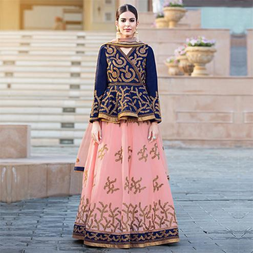 Light Pink - Blue Designer Lehenga
