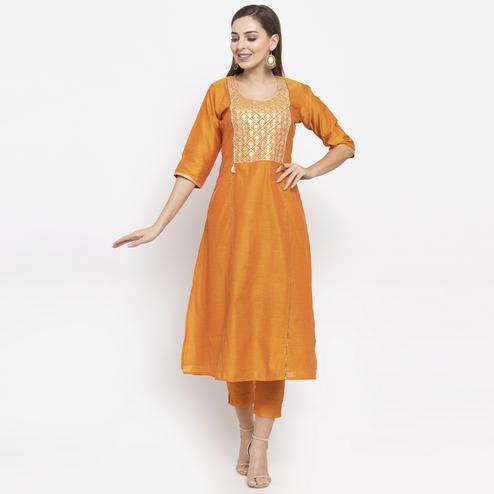 Desirable Orange Colored Party Wear Embroidered Calf Length A-Line Cotton-Chanderi Silk Kurti-Pant Set