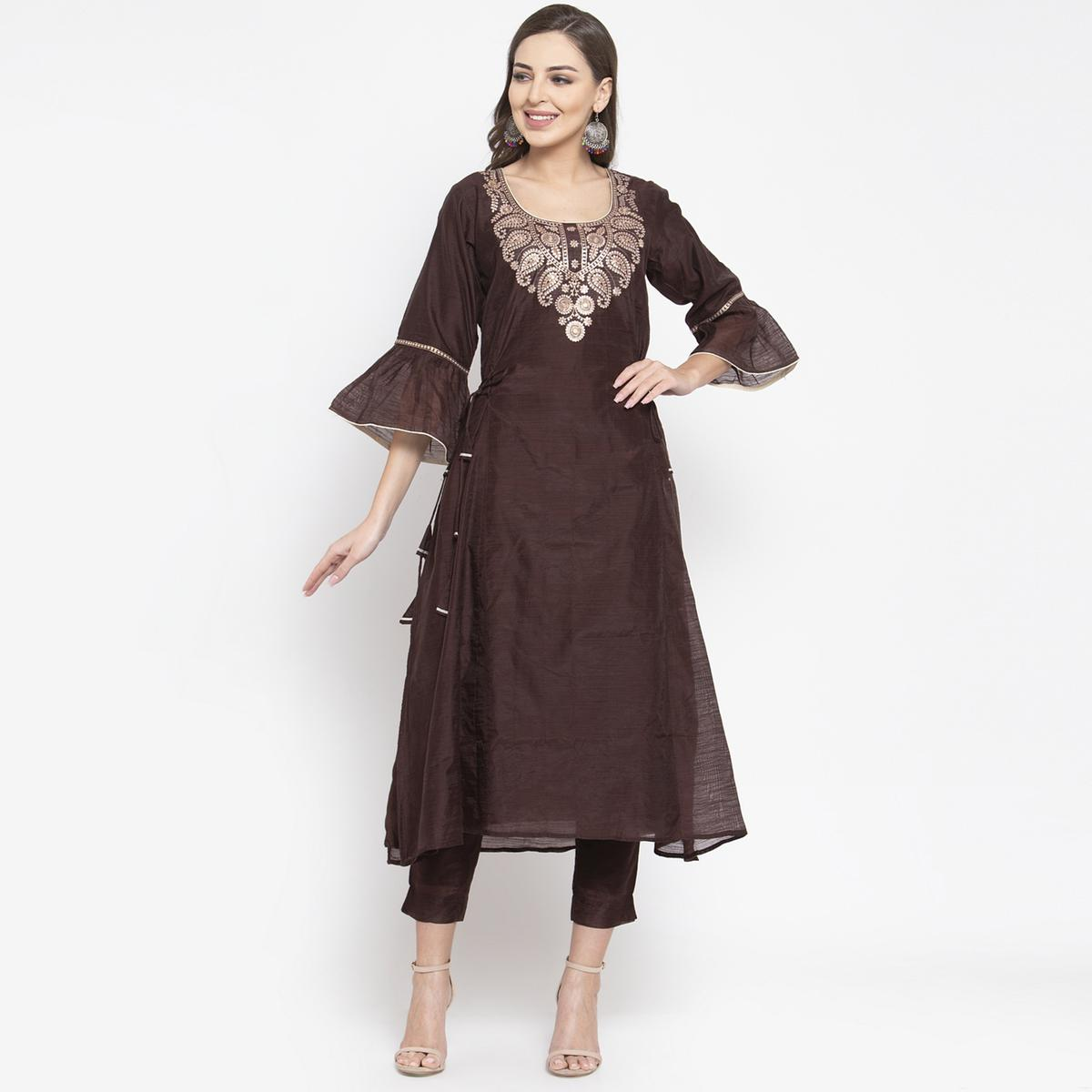 Exotic Dark Brown Colored Party Wear Embroidered Calf Length A-Line Cotton-Chanderi Silk Kurti-Pant Set