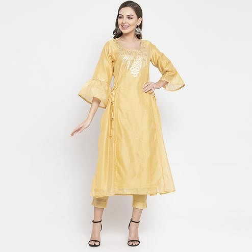 Elegant Yellow Colored Party Wear Embroidered Calf Length A-Line Cotton-Chanderi Silk Kurti-Pant Set