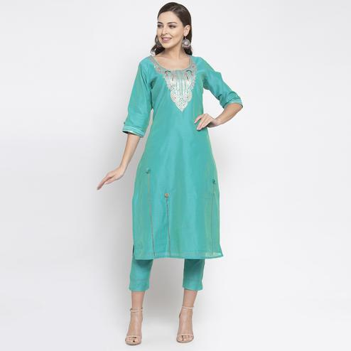 Opulent Teal Green Colored Party Wear Embroidered Calf Length Straight Cotton-Chanderi Silk Kurti-Pant Set