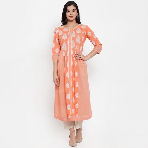 Adorable Peach Colored Casual Wear Printed Calf Length A-Line Cotton Kurti