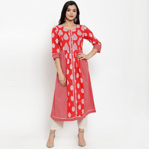 Glorious Red Colored Casual Wear Printed Calf Length A-Line Cotton Kurti