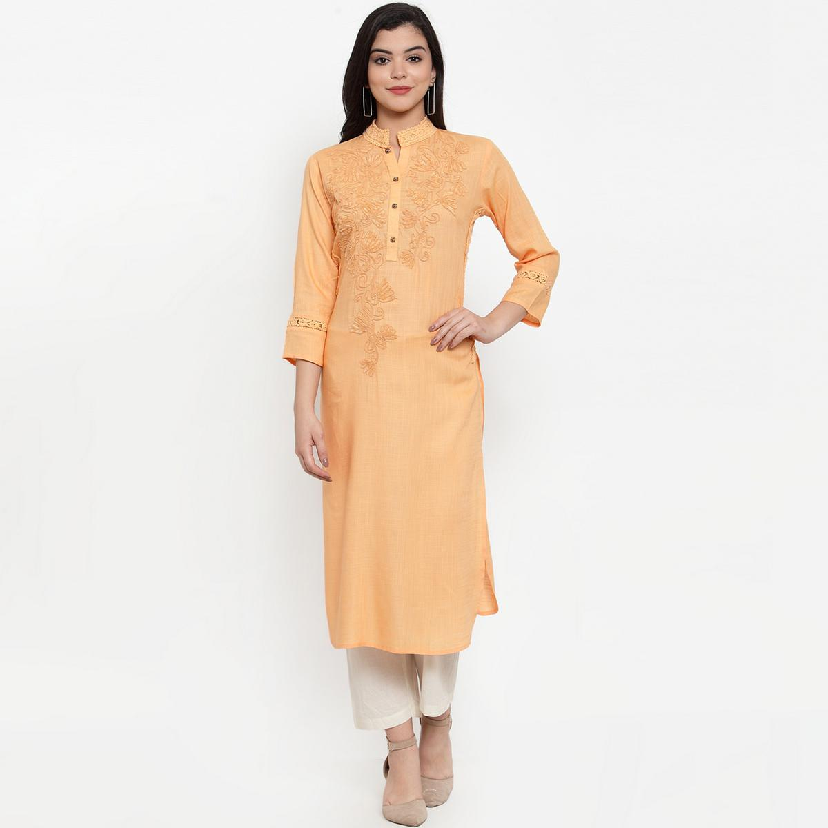 Graceful Light Orange Colored Party Wear Embroidered Calf Length Straight Viscose-Rayon Kurti