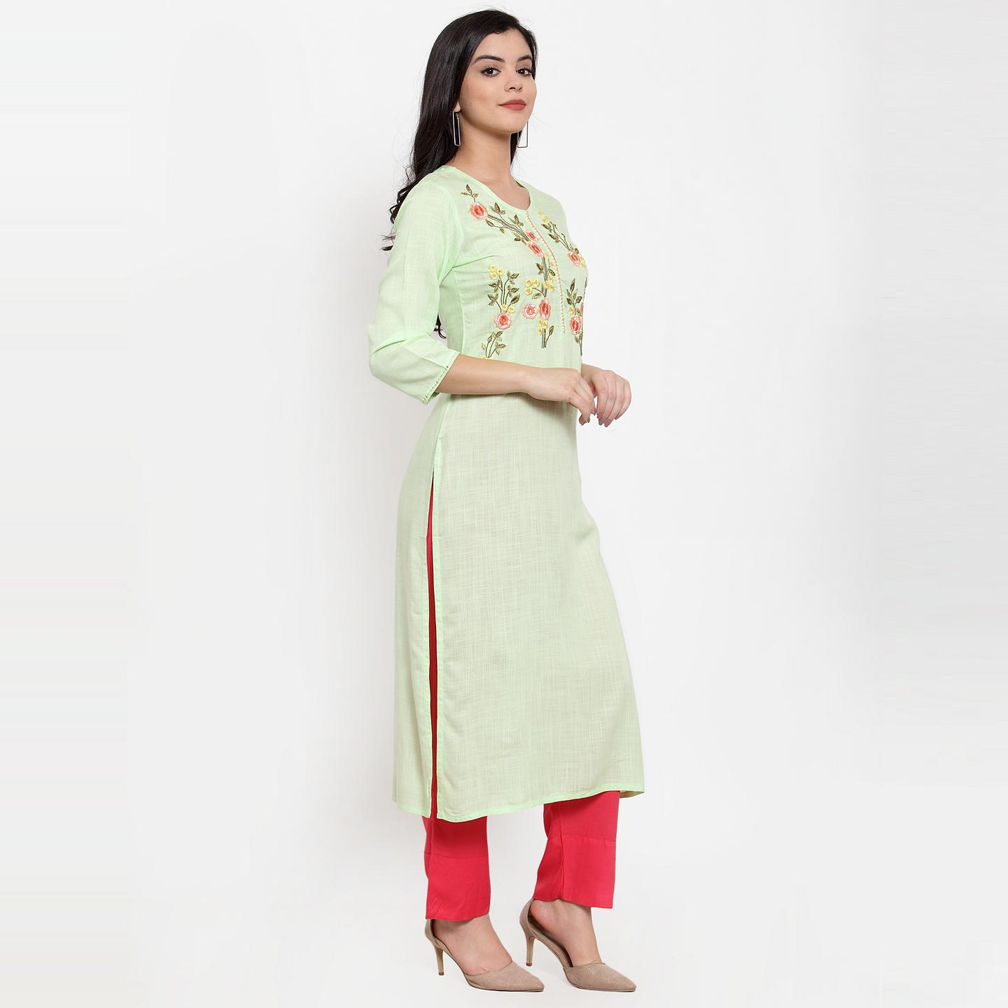 Blooming Green Colored Party Wear Embroidered Calf Length Straight Viscose-Rayon Kurti