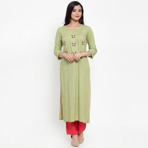 Charming Olive Green Colored Party Wear Embroidered Calf Length Straight Viscose-Rayon Kurti