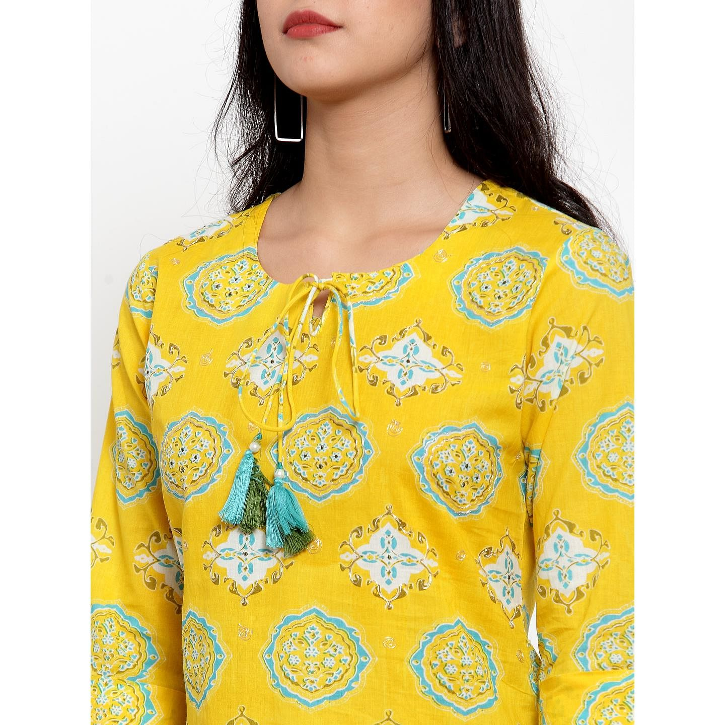 Jazzy Yellow Colored Party Wear Printed Calf Length Straight Cotton Kurti