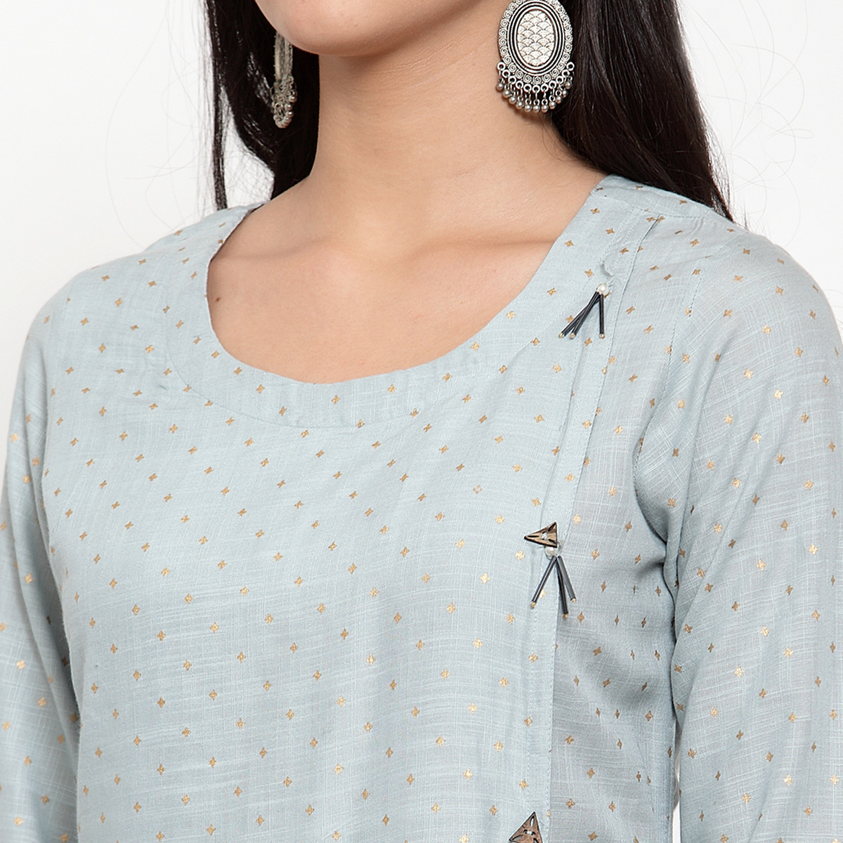 Delightful Grey Colored Party Wear Printed Calf Length A-Line Viscose-Rayon Kurti