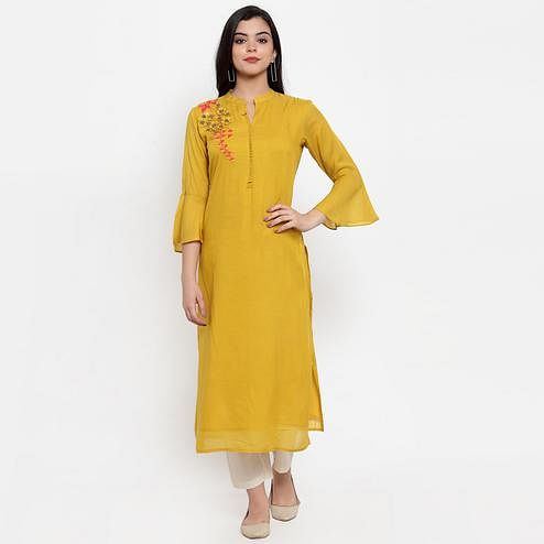 Engrossing Mustard Yellow Colored Party Wear Embroidered Calf Length Straight Chanderi Silk Kurti