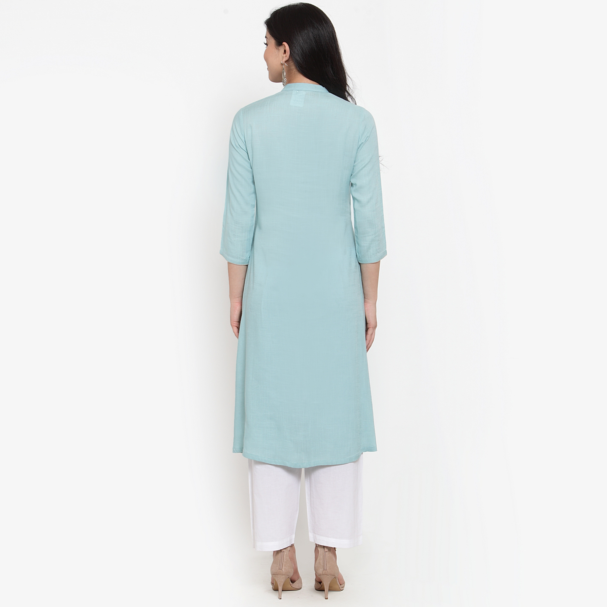 Captivating Blue Colored Party Wear Embroidered Calf Length A-Line Viscose-Rayon Kurti
