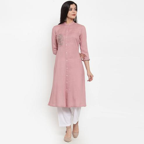 Innovative Mauve Colored Party Wear Embroidered Calf Length A-Line Viscose-Rayon Kurti