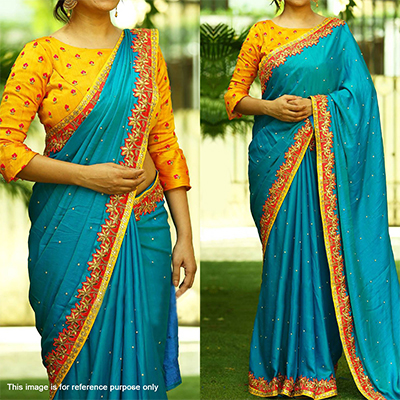 Turquoise - Yellow Floral Embroidered Saree