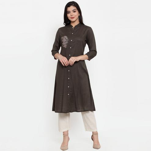 Eye-catching Brown Colored Party Wear Embroidered Calf Length A-Line Viscose-Rayon Kurti