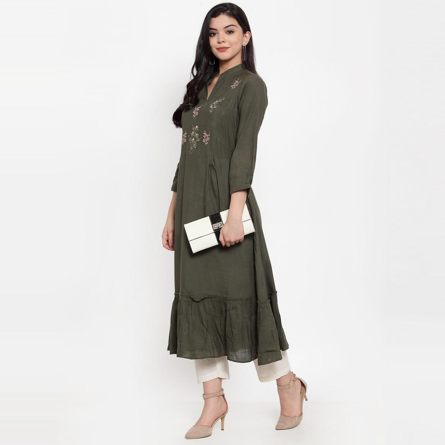 Fantastic Dark Olive Green Colored Party Wear Embroidered Calf Length A-Line Viscose-Rayon Kurti