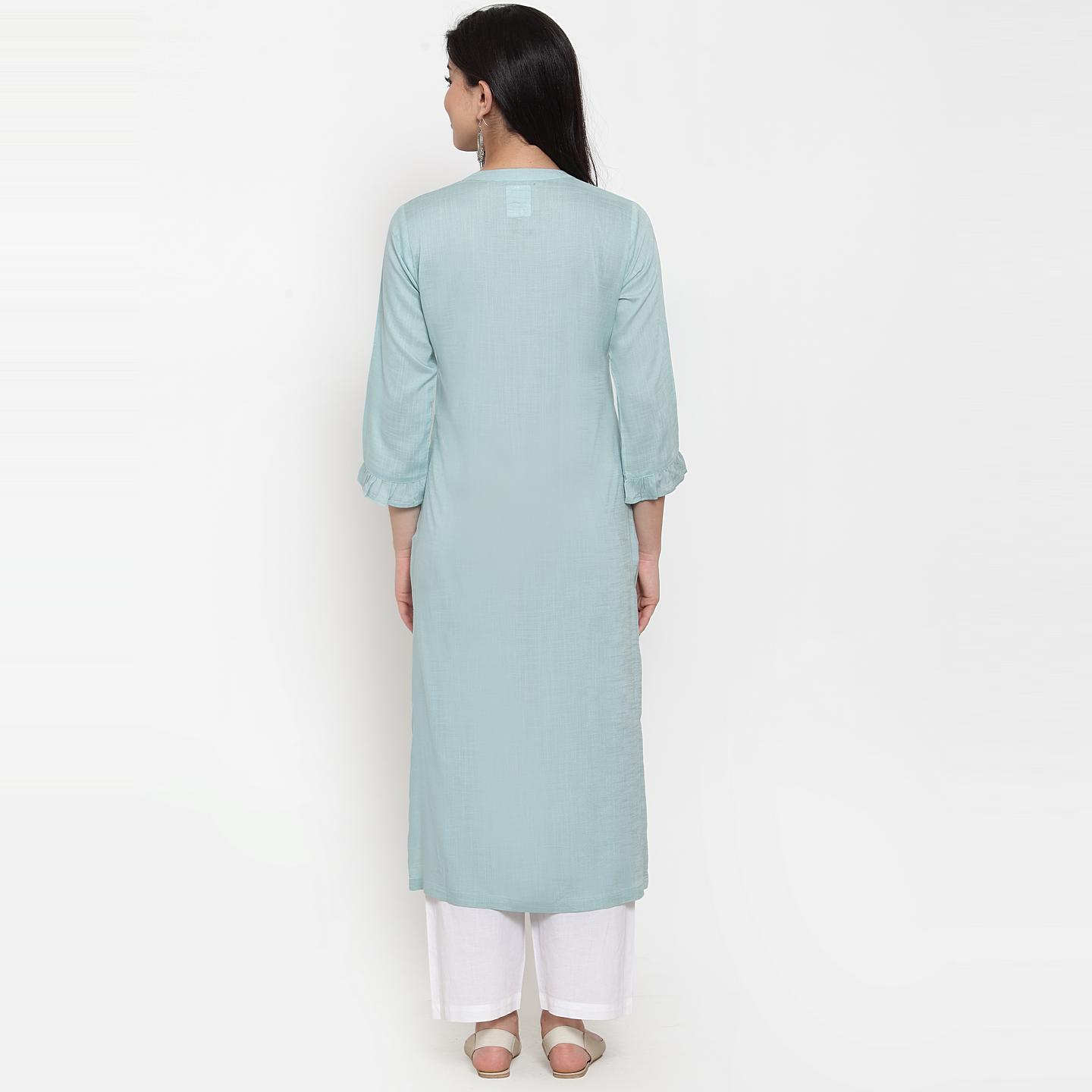 Amazing Blue Colored Party Wear Embroidered Calf Length Straight Viscose-Rayon Kurti