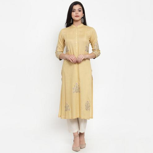Gorgeous Yellow Colored Party Wear Embroidered Calf Length Straight Viscose-Rayon Kurti