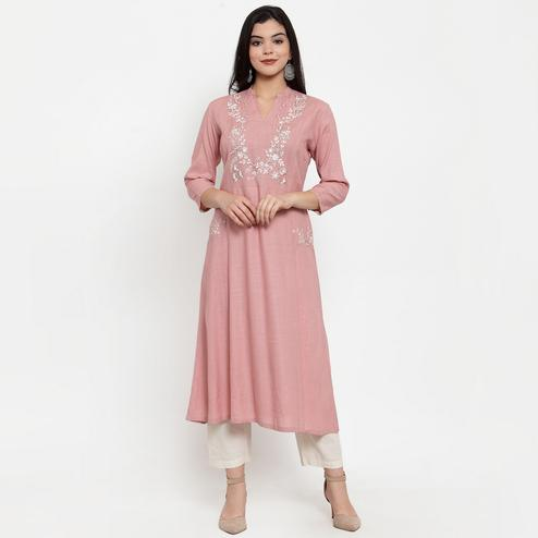 Blissful Mauve Colored Party Wear Embroidered Calf Length A-Line Viscose-Rayon Kurti
