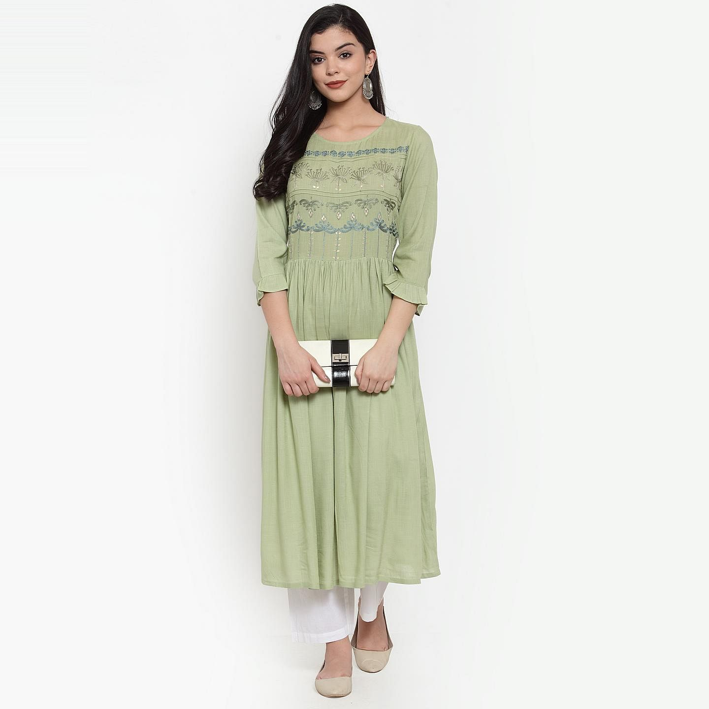 Ideal Green Colored Party Wear Embroidered Calf Length A-Line Viscose-Rayon Kurti