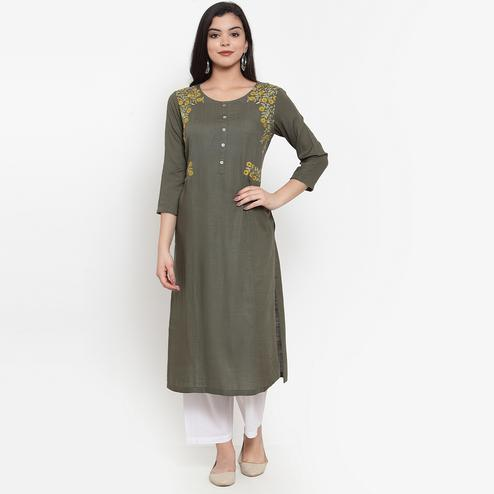 Imposing Dark Olive Green Colored Party Wear Embroidered Calf Length Straight Viscose-Rayon Kurti