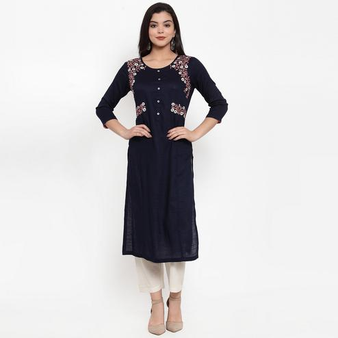 Lovely Navy Blue Colored Party Wear Embroidered Calf Length Straight Viscose-Rayon Kurti
