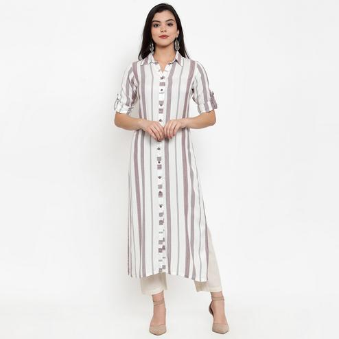 Impressive Off White Colored Casual Wear Printed Calf Length Straight Viscose-Rayon Kurti