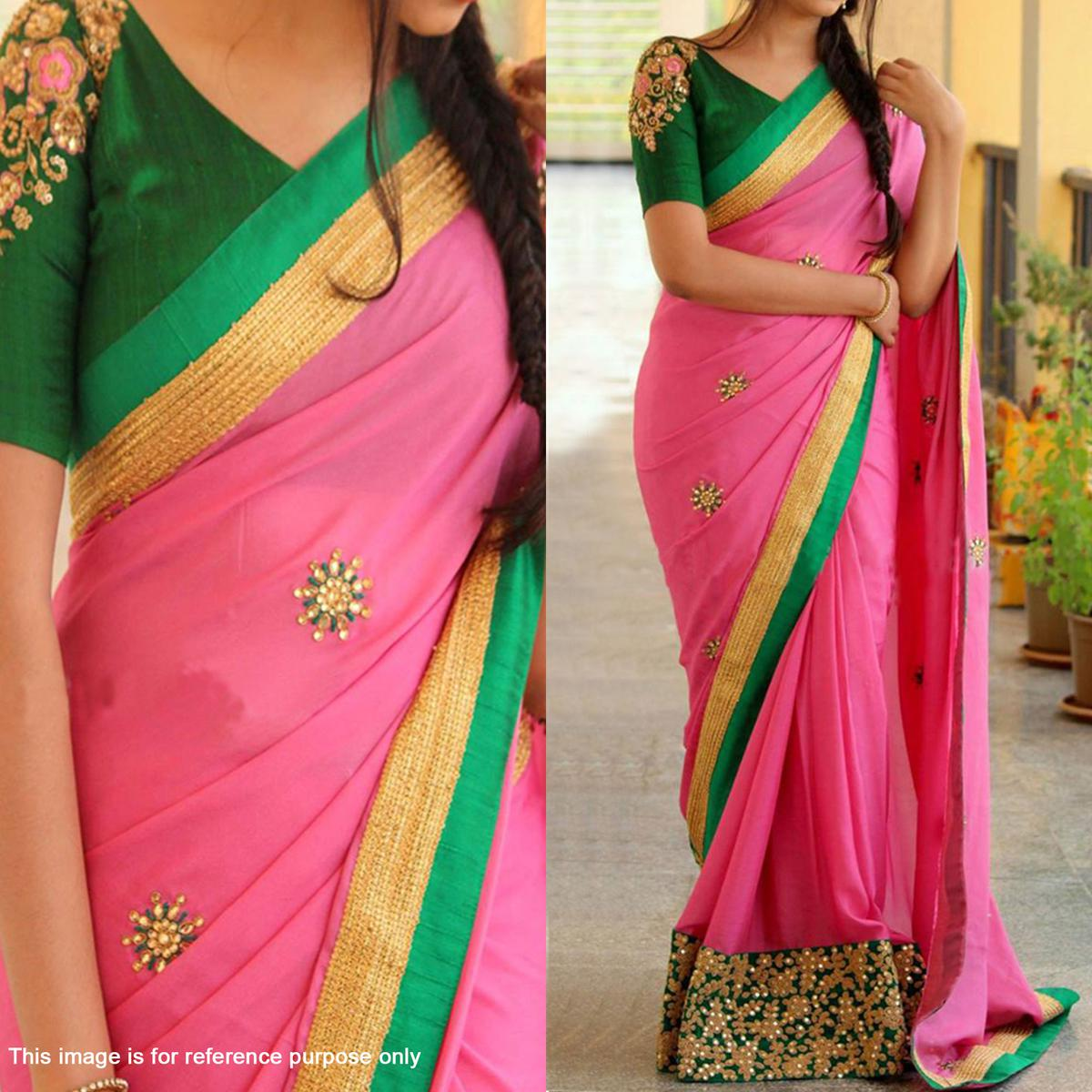 Pink - Green Georgette Partywear Saree