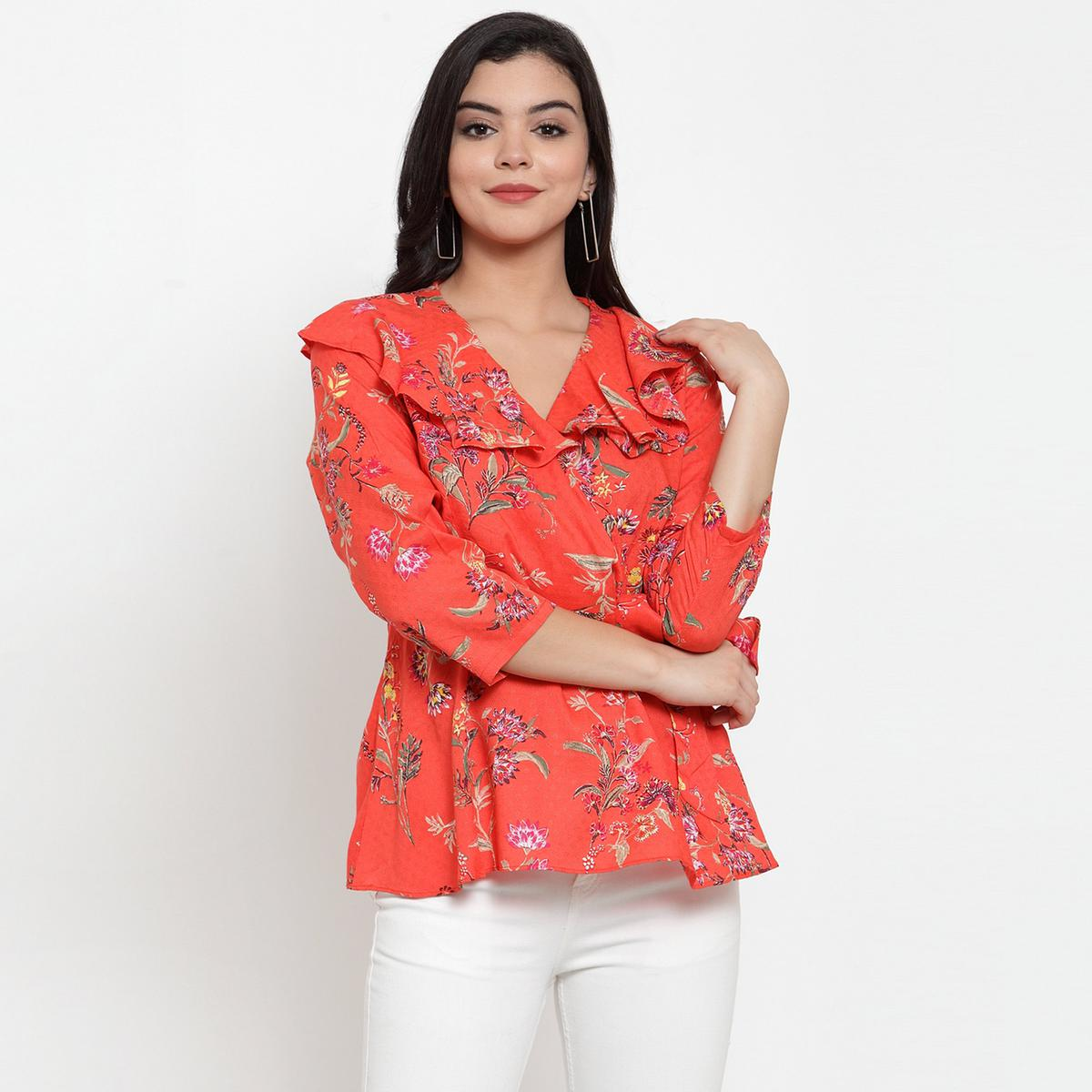 Intricate Red Colored Casual Wear Floral Printed Peplum Modal Top