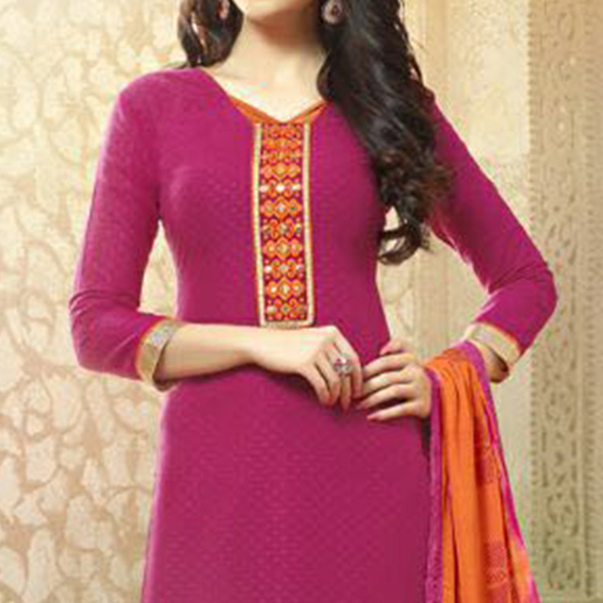 Pink - Orange Embroidered Work Suit with Printed Dupatta
