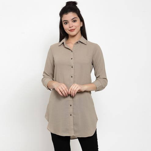 Jazzy Light Brown Colored Casual Wear Solid Shirt Crepe Top