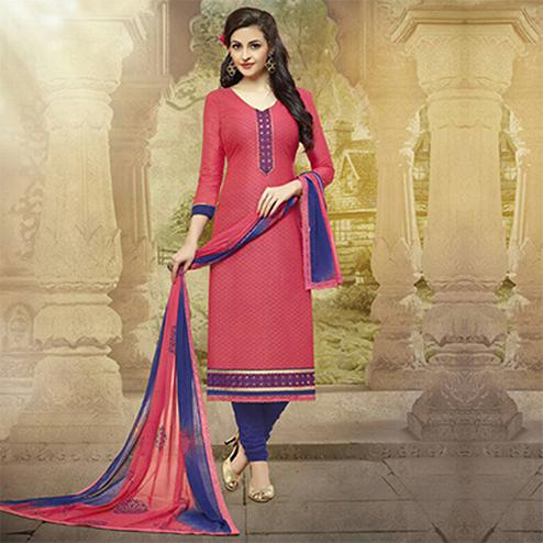Crimson Red - Blue Cotton Straight Cut Salwar Suit